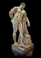 End of 2nd century beginning of 3rd century AD Roman marble sculpture of Hercules at rest copied from the second half of the 4th century BC Hellanistic Greek original,  inv 6001, Farnese Collection, Museum of Naples, Black Background<br /> <br /> If you prefer to buy from our ALAMY STOCK LIBRARY page at https://www.alamy.com/portfolio/paul-williams-funkystock/greco-roman-sculptures.html . Type -    Naples    - into LOWER SEARCH WITHIN GALLERY box - Refine search by adding a subject, place, background colour, etc.<br /> <br /> Visit our ROMAN WORLD PHOTO COLLECTIONS for more photos to download or buy as wall art prints https://funkystock.photoshelter.com/gallery-collection/The-Romans-Art-Artefacts-Antiquities-Historic-Sites-Pictures-Images/C0000r2uLJJo9_s0