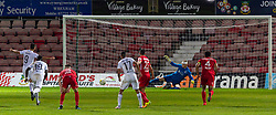 WREXHAM, WALES - Thursday, September 17, 2020: FC Dinamo Tbilisi's Giorgi Gabedava scores an injury time penalty past Connah's Quay Nomads' goalkeeper Lewis Brass to seal a 1-0 victory during the UEFA Europa League Second Qualifying Round match between Connah's Quay Nomads FC and FC Dinamo Tbilisi at the Racecourse Ground. Dinamo Tiblisi won 1-0. (Pic by David Rawcliffe/Propaganda)