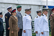 Henley on Thames, England, United Kingdom, Tuesday, 02.07.19, Members of the crews of the Armed Forces, taking part in the King's Cup, observing the Minute's Silence, in respect of those who have lost their lives in War, Henley Royal Regatta,  Henley Reach, [©Karon PHILLIPS/Intersport Images]<br /> <br /> 12:15:57 1919 - 2019, Royal Henley Peace Regatta Centenary,