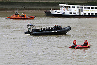 London Fire Brigade inflatable, RNLI Royal National Lifeboat Institution E class lifeboat Hurley Burley E-07, Metropolitan Police Marine Unit Rigid Inflatable Boat (RIB), Emergency Services Exercise, Lambeth Reach River Thames, London UK, 23 October 2017, Photo by Richard Goldschmidt