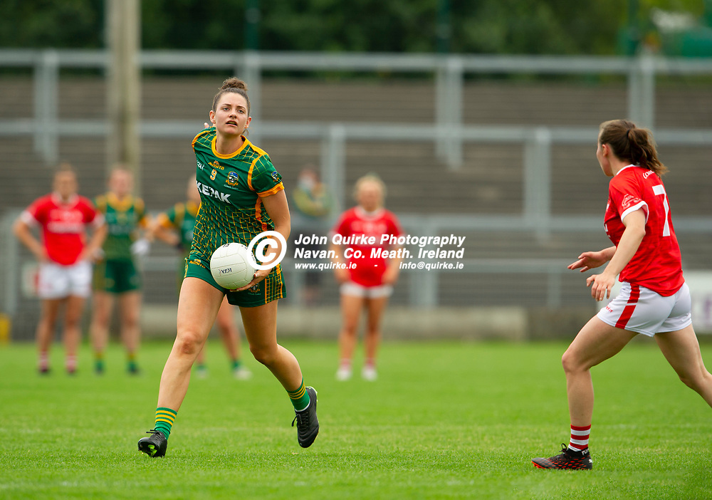 10-07-21. Meath v Cork - LGFA All-Ireland Senior Championship - Group 3 Round 1 at St. Brendan's Park, Birr.<br /> Marie O'Shaughnessy, preparing to pass the ball.<br /> Photo: John Quirke / www.quirke.ie<br /> ©John Quirke Photography, 16 Proudstown Road, Navan. Co. Meath. (info@quirke.ie / 046-9028461 / 087-2579454).