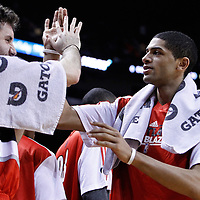 08 March 2011: Portland Trail Blazers small forward Nicolas Batum (88) celebrates with Portland Trail Blazers shooting guard Rudy Fernandez (5) during the Portland Trail Blazers 105-96 victory over the Miami Heat at the AmericanAirlines Arena, Miami, Florida, USA.