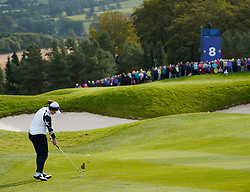 Auchterarder, Scotland, UK. 14 September 2019. Saturday morning Foresomes matches  at 2019 Solheim Cup on Centenary Course at Gleneagles. Pictured; Ally McDonald of USA approach shot to the 8th green.  Iain Masterton/Alamy Live News