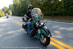Jason Wadzinski riding Jess, his 1947 Indian Chief in the Cross Country Chase motorcycle endurance run from Sault Sainte Marie, MI to Key West, FL. (for vintage bikes from 1930-1948). Stage-6 from Chattanooga, TN to Macon, GA USA covered 258 miles. Wednesday, September 11, 2019. Photography ©2019 Michael Lichter.