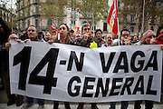 People striking in front of the Stock Option Market of Barcelona.General Strike in Spain and Portugal. Throughout Europe thousands of people demonstrated against the austerity measures imposed by the governments.<br /> <br /> Portugal and Spain joined an Iberin strike convened by the major labor unions.