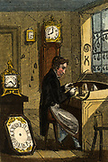 'The Watchmaker working at his bench.  As well as watches, he would also make clocks. Hand-coloured woodcut from ''The Book of English Trades'', London, 1823.'