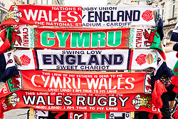 A general view of scarves<br /> <br /> Photographer Simon King/Replay Images<br /> <br /> Six Nations Round 3 - Wales v England - Saturday 23rd February 2019 - Principality Stadium - Cardiff<br /> <br /> World Copyright © Replay Images . All rights reserved. info@replayimages.co.uk - http://replayimages.co.uk