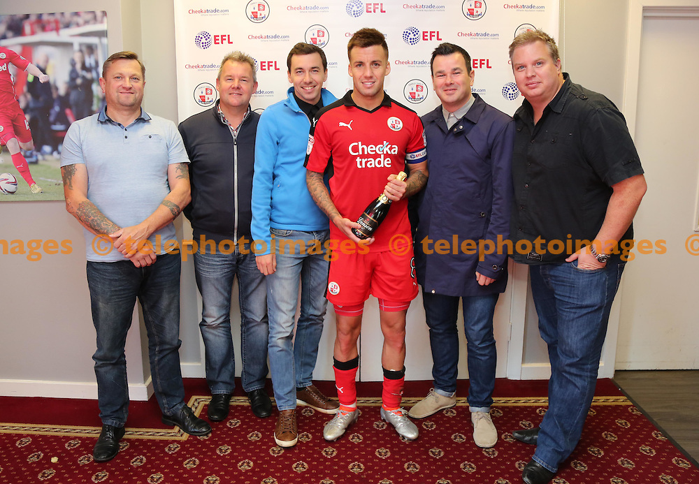 Man of the match  Jimmy Smith with KRL and guests during the Sky Bet League 2 match between Crawley Town and Blackpool at the Checkatrade Stadium in Crawley. October 1, 2016.<br /> James Boardman / Telephoto Images<br /> +44 7967 642437