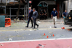 September 18, 2016 - New York, New York, U.S - New York Mayor Bill de Blasio, left,  and New York Governor Andrew Cuomo tour the site of an explosion Sunday, Sept. 18, 2016, that occurred on Saturday night in the Chelsea neighborhood of New York. Mayor de Blasio ruled out any terror connections, but called the blast an ''intentional act. (Credit Image: © Prensa Internacional via ZUMA Wire)