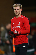Liverpool Goalkeeper Loris Karius warms up prior to kick off. Premier League match, Liverpool v West Ham Utd at the Anfield stadium in Liverpool, Merseyside on Sunday 11th December 2016.<br /> pic by Chris Stading, Andrew Orchard sports photography.