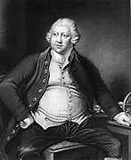 Richard Arkwright (1732-1792) British industrialist and inventor: Water-powered spinning frame. Engraving after portrait by Joseph Wright of Derby.
