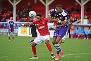 Ebbsfleet United forward Bradley Bubb (10) attacks goal during the Vanarama National League South match between Ebbsfleet United and East Thurrock United at the Enclosed Ground, Whitehawk, United Kingdom on 4 March 2017. Photo by Jon Bromley.
