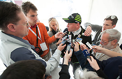 Goran Janus, head coach of Slovenia talks to journalists after the Flying Hill Team competition at 3rd day of FIS Ski Jumping World Cup Finals Planica 2012, on March 17, 2012, Planica, Slovenia. (Photo by Vid Ponikvar / Sportida.com)