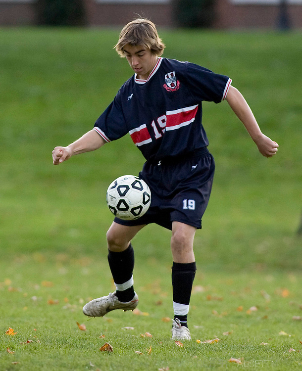 The Pomfret School, Pomfret, CT. 2010-2011. Students enjoy a fall afternoon of soccer on the campus of the Pomfret School, a New England college preparatory boarding and day school. (Photo by Robert Falcetti).Admissions marketing & communications photography.  ... .