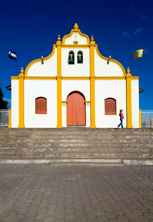 The Spanish colonial church in<br /> town of Catarina, one of the 'Publos Blancos' or White Towns outside of Granada, Nicaragua.