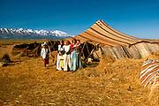MOROCCO, HIGH ATLAS MOUNTAINS Group portrait of Nomadic Berber children