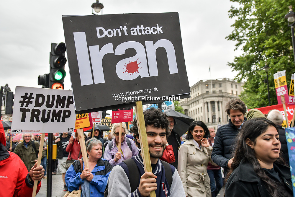 Ten of thousands assembly in Trafalgar Square march to downing street on 4 June 2019, Together Against Trump - stop the state visit, London, UK.