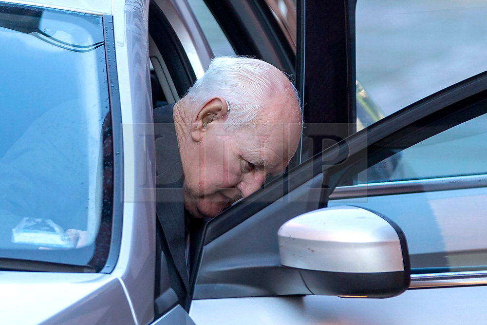 © Licensed to London News Pictures. 06/02/2019. Leeds UK. File picture taken 10/10/2018 Former police officer David Lomax arrives at Leeds Crown Court. Former police officer David Lomax who raped a woman in her own home more than 40 years ago has been told he will spend more time in jail. Ex West Yorkshire Police officer David Lomax, 84, was jailed last year for four years and nine months after being found guilty at Leeds Crown Court of rape and misconduct in a public office, That sentence was referred to the Attorney General & today he has almost doubled it to eight years in prison. The court in Leeds heard last year how in 1978 he visited a woman at her home in Seacroft over non-payment of a fine. When he discovered the woman could not pay the fine he said the only was to avoid arrest was by performing sexual favours. Photo credit: Andrew McCaren/LNP