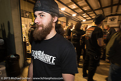 Brad Gregory of Iowa at a Bling's Cycle / Bill Dodge party during Daytona Beach Bike Week, FL, USA. Wednesday, March 11, 2015. Photography ©2015 Michael Lichter.