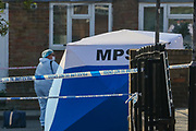 Police Forensic team arrived at the crime scene in North London on Tuesday, Sept 15, 202 - early morning to continue their investigation after man has died of stab wounds on Monday in London. Police have launched an investigation after they attended North Road N7 around 8 pm and found a male, thought to be a teen, with stab wounds. (VXP Photo/ Vudi Xhymshiti)