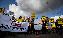 Demonstrators gather at a rally for solidarity with anti-racists in Charlottesville in front of the Minneapolis Republican Party office on Franklin Avenue Monday, Aug. 14, 2017 in Minneapolis, MN, USA. Photo by Carlos Gonzalez/Minneapolis Star Tribune/TNS/ABACAPRESS.COM