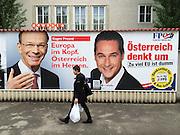 Vienna, Austria. EU election posters and billboards. SPÖ (Social Democrats). Eugen Freund (l.), FPÖ (right wing). H.C. Strache.