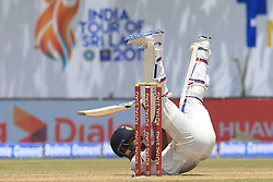 July 27, 2017 - Galle, Sri Lanka - Indian cricketer Hardik Pandya loses his balance while batting during  the 2nd Day's play in the 1st Test match between Sri Lanka and India at the Galle International cricket stadium, Galle, Sri Lanka on Thursday 27 July 2017. (Credit Image: © Tharaka Basnayaka/NurPhoto via ZUMA Press)