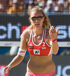 30.07.2016, Strandbad, Klagenfurt, AUT, FIVB World Tour, Beachvolleyball Major Series, Klagenfurt, Herren, im Bild Nina Betschart (2, SUI) // during the FIVB World Tour Major Series Tournament at the Strandbad in Klagenfurt, Austria on 2016/07/30. EXPA Pictures © 2016, PhotoCredit: EXPA/ Lisa Steinthaler