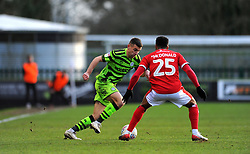 Kevin Dawson of Forest Green Rovers tries to get past Wes McDonald of Walsall- Mandatory by-line: Nizaam Jones/JMP - 08/02/2020 - FOOTBALL - New Lawn Stadium - Nailsworth, England - Forest Green Rovers v Walsall - Sky Bet League Two