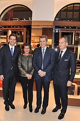 Left to right, JAMES FERRAGAMO, FULVIA VISCONTI FERRAGAMO, FERRUCCIO FERRAGAMO and LEONARDO FERRAGAMO at the Salvatore Ferragamo Old Bond Street Boutique Store Launch on 5th December 2012.