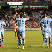 Stevan Jovetic, (centre), Manchester City, after scoring his sides second goal during the Manchester City Vs Liverpool FC Guinness International Champions Cup match at Yankee Stadium, The Bronx, New York, USA. 30th July 2014. Photo Tim Clayton
