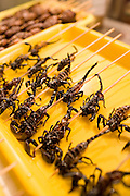 Deep fried scorpions for sale in the Night Market, Wangfujing Street, Beijing, China