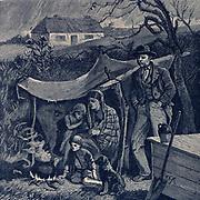 Irish potato famine 1840s. Evicted family.