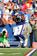 Buffalo Bills wide receiver Kaelin Clay (13) leaps and catches a second quarter pass for a first down at the Denver Broncos 12 yard line during the 2017 NFL week 3 regular season football game against the against the Denver Broncos, Sunday, Sept. 24, 2017 in Orchard Park, N.Y. The Bills won the game 26-16. (©Paul Anthony Spinelli)
