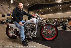 Ian Lawson of Australia with his custom Harley-Davidson split-rocker rigid Shovelhead after the Mooneyes Yokohama Hot Rod & Custom Show. Yokohama, Japan. December 4, 2016.  Photography ©2016 Michael Lichter.