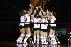 03 SEP 2008:  The Redbirds huddle up before team introductions. The Northern Illinois University Huskies and the Illinois State Redbirds meet at Redbird Arena on the campus of Illinois State University in Normal Illinois.
