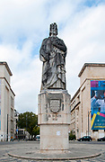 Statue of Dom Dinis (King Denis) in Largo D. Dinis at Coimbra University, Portugal
