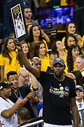 Golden State Warriors forward Kevin Durant (35) celebrates becoming NBA Champions after beating the Cleveland Cavaliers in Game 5 of the NBA Finals at Oracle Arena in Oakland, Calif., on June 12, 2017. (Stan Olszewski/Special to S.F. Examiner)