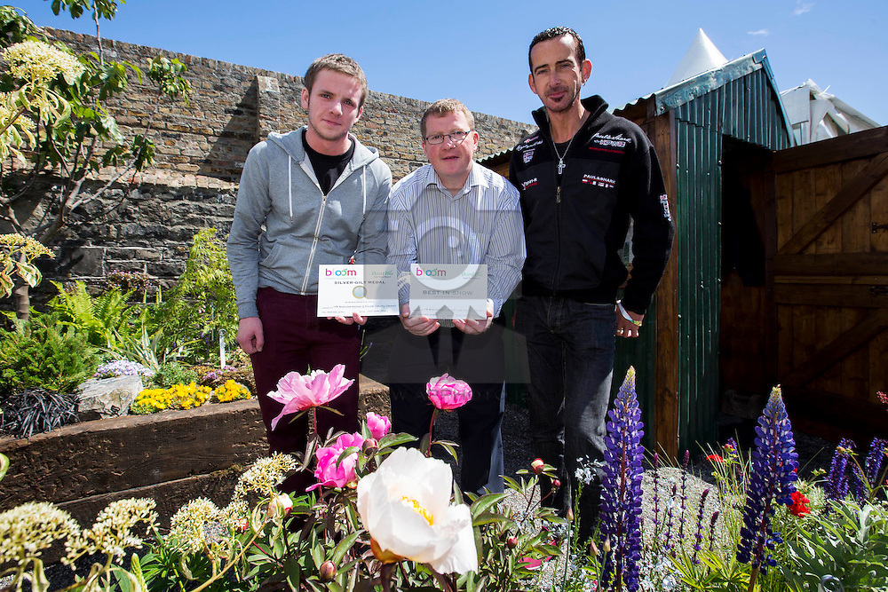Repro Free: 29/05/2015 <br /> Mark Walsh 2nd Year ITB Student from Drogheda, Mick Hagan ITB Lecturer and Stephen Ryan 2nd Year ITB Student from Ashbourne pictured enjoying the beautiful garden created by Fingal County Council and ITB (Institute of Technology Blanchardstown) which was awarded a Silver Gilt Medal and Best in Show in the Small Garden Category at Ireland's largest gardening, food and family event 'Bloom in the Park'  2015 which takes place over the next 5 days. The garden is a representative vignette of the famous walled garden at Beech Park, Clonsilla, Dublin 15. Picture Andres Poveda