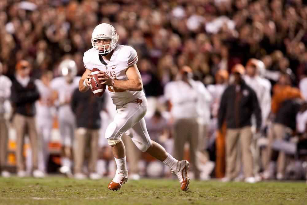 Colt McCoy Quarterback #12, Texas Longhorns at Texas A&M Aggies. Photographed at Kyle Field in College Station, Texas on Thursday, November 26 2009. Photograph © 2009 Darren Carroll