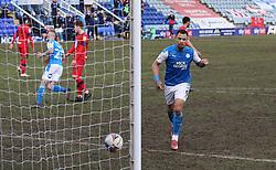 Jonson Clarke-Harris of Peterborough United celebrates scoring the winning goal - Mandatory by-line: Joe Dent/JMP - 27/02/2021 - FOOTBALL - Weston Homes Stadium - Peterborough, England - Peterborough United v Wigan Athletic - Sky Bet League One