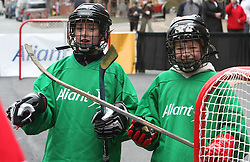 Young Canadian hockey players in front of Metro Centre  in Halifax at IIHF World Championship 2008,  on May 01, 2008, Halifax, Canada.  (Photo by Vid Ponikvar / Sportal Images)