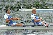 2004 FISA World Cup Regatta Lucerne Switzerland. 19.06.04..Photo Peter Spurrier.Lrft Toby Garbutt and Rick Dunn, move away from the start of the men's pair, going on to book a place in Sunday's final. Rowing Course, Lake Rottsee, Lucerne, SWITZERLAND. [Mandatory Credit: Peter Spurrier: Intersport Images]