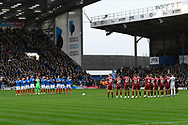 The players pay tribute to John Jenkins with a minutes applause ahead of the EFL Sky Bet League 1 match between Portsmouth and Ipswich Town at Fratton Park, Portsmouth, England on 21 December 2019.