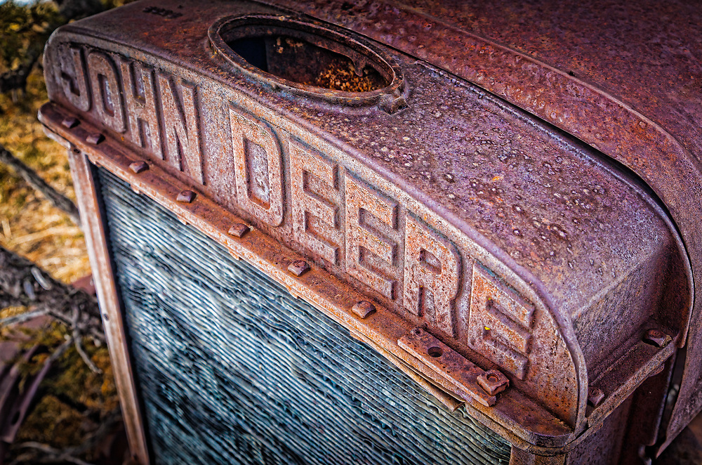 Grille on a vintage John Deere tractor on ranch in eastern Wyoming