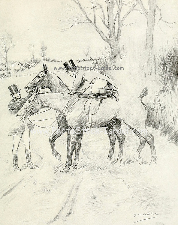 The Second Horse from the book The sport of our ancestors; being a collection of prose and verse setting forth the sport of fox-hunting as they knew it; by baron Willoughby de Broke, Richard Greville Verney, 1869-1923; and illustrated by Armour, G. D. (George Denholm),  Published in London by Constable and co. ltd. in 1921