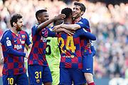 Sergi Roberto of FC Barcelona celebrates a goal during the Liga match between FC Barcelona and Getafe CF at Camp Nou, Saturday, February 15, 2020, in Barcelona, Spain.