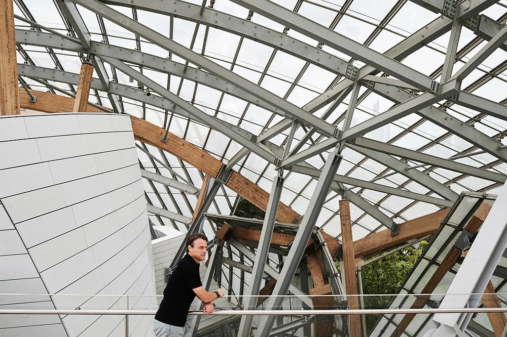 Laurens Van Den Acker, Chief Designer at Groupe Renault, posing at the Fondation Louis Vuitton. Paris, France. July 27, 2019.