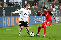 KAISERSLAUTERN, Oct. 9, 2017  Tamkin Khalilzade (R) of Azerbaijan and Julian Brandt of Germany vie for the ball during the FIFA 2018 World Cup Qualifiers Group C match between Germany and Azerbaijan at Fritz Walter Stadium in Kaiserslautern, Germany, on Oct. 8, 2017. Germany won 5-1. (Credit Image: © Ulrich Hufnagel/Xinhua via ZUMA Wire)