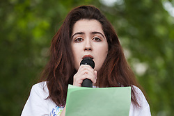 London, UK. 30 May, 2019. Siena Castellon, an award-winning neurodiversity advocate, founder of Neurodiversity Celebration Week and a ADHD Foundation Youth Ambassador, addresses campaigners from SEND National Crisis attending a demonstration in Parliament Square to demand improvements in the diagnosis and assessment of young people with SEND, assistance for their families, funding and legal and financial accountability for local authorities in their treatment of young people with SEND and their families. Credit: Mark Kerrison/Alamy Live News